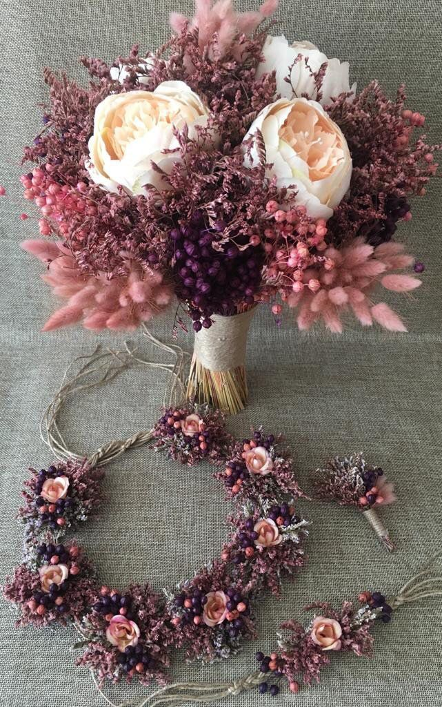 Wedding Dried Flower Bouquet Set - Bride Bouquet, Bride Crown, Bride Corsage, Boutonniere (4 Pieces) #flowerbouquetwedding