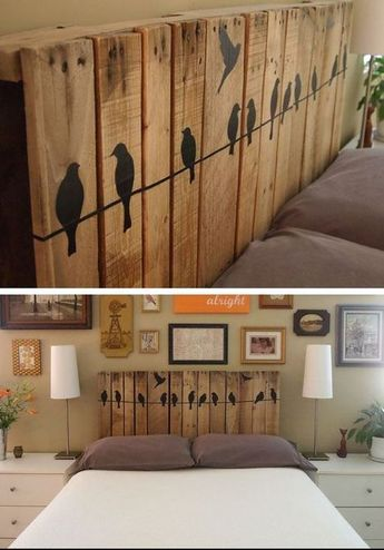 Königin Kopfteil · Holzmöbel · Repurposed Pallet Headboard | Click For 18  DIY Headboard Ideas | DIY Bedroom Decor Ideas On