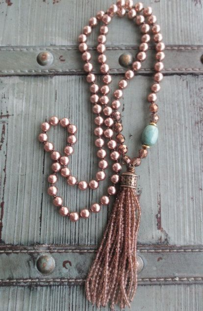 Pearl tassel necklace – Bronzed Beauty – metallic brown glass pearls ombre tassel turquoise knotted boho by slashKnots