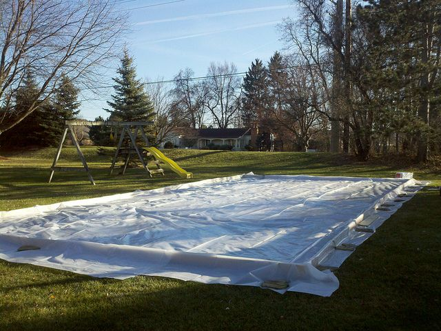 Ice Rink Liner Install Outdoor Decor Outdoor Outdoor Tables