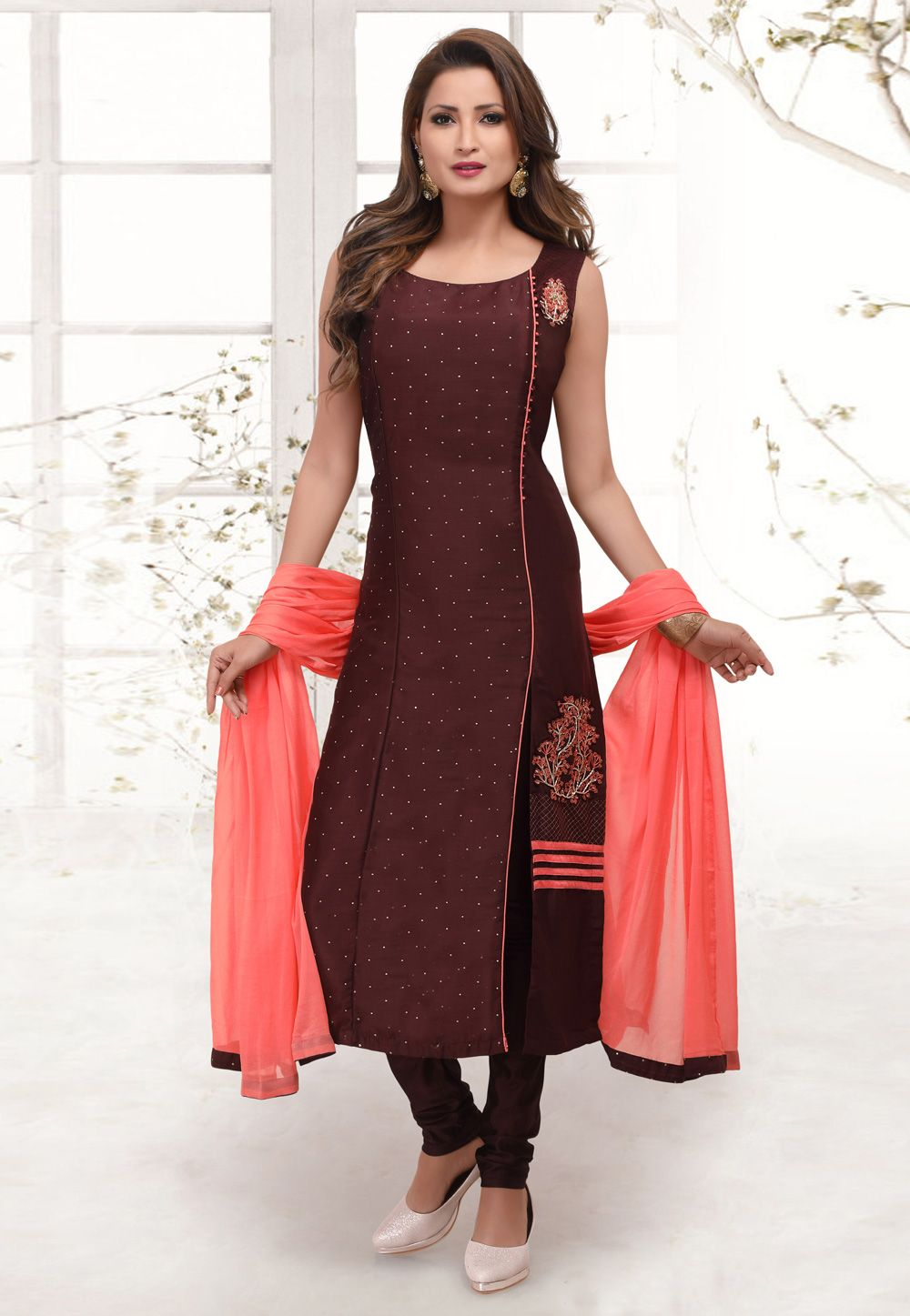 Wine Cotton Silk Readymade Churidar Salwar Kameez 156521 Simple Indian Suits Kurta Designs Women Designer Dresses Indian