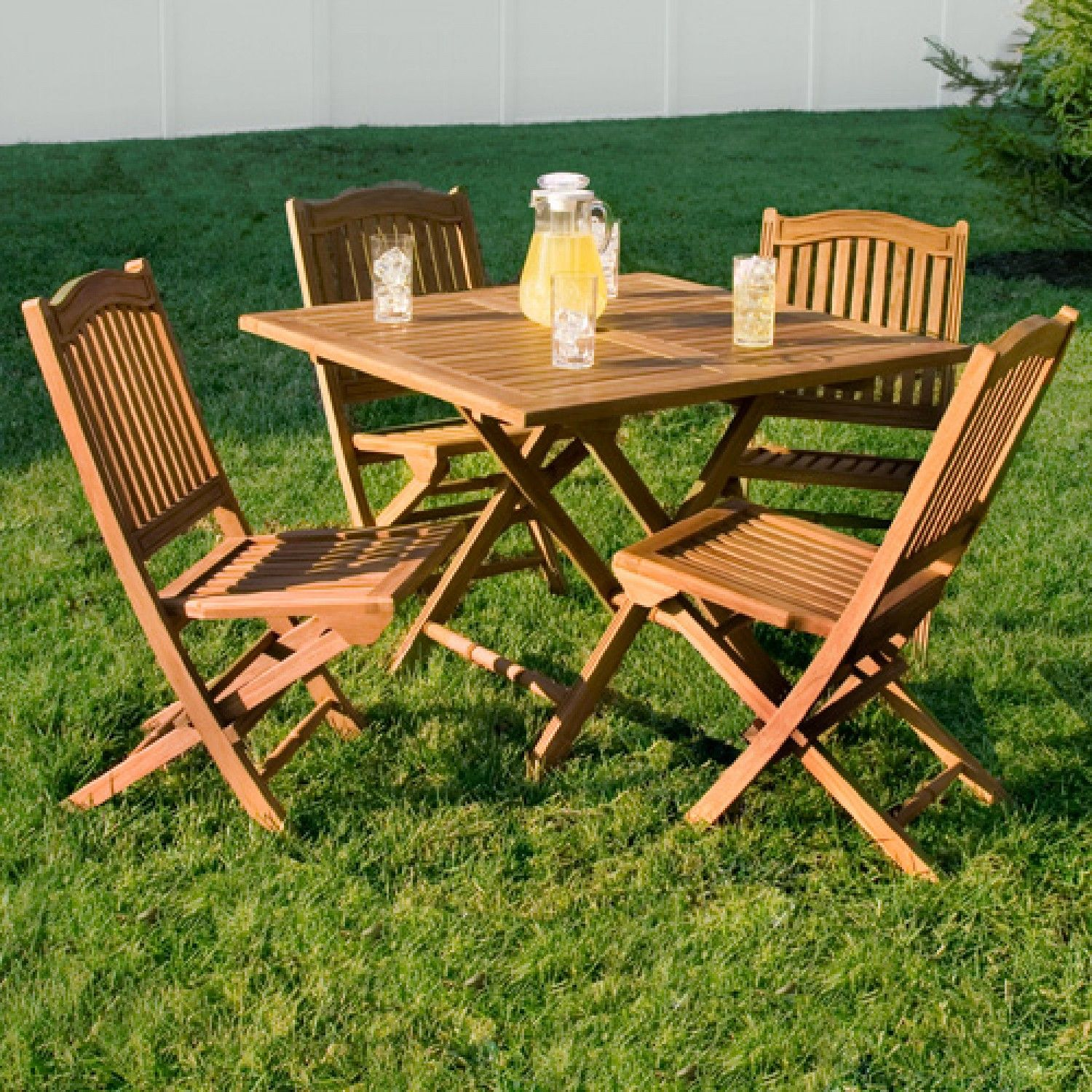Teak outdoor square folding dining table teak