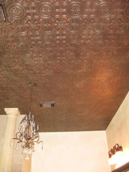 Paintable textured faux tin wallpaper from wallpaperplus - Can you wallpaper drop ceiling tiles ...
