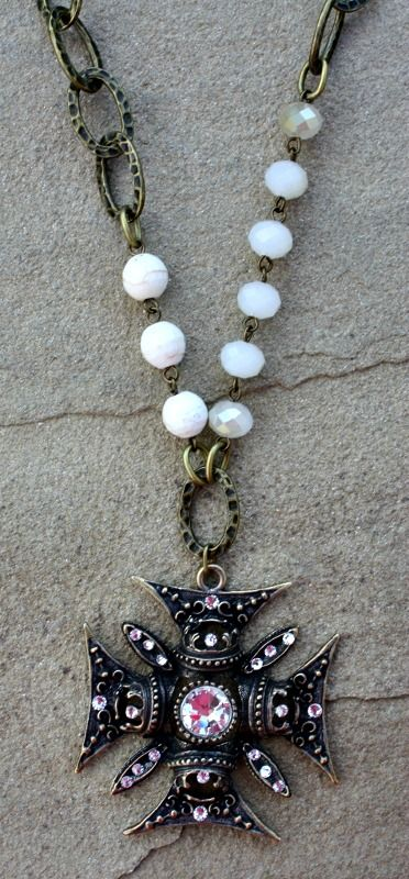 Save 10% by using promo code GUGREPBRITT at checkout! www.gugonline.com Clear Crystal Chopper Cross on Ivory and Chain Necklace