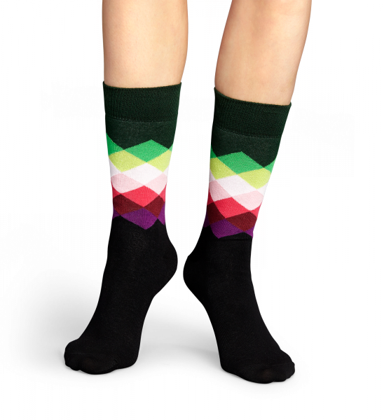 Faded diamond socks at Happy Socks for stylish people! Faded Diamond sock in various variations of green, pink and black