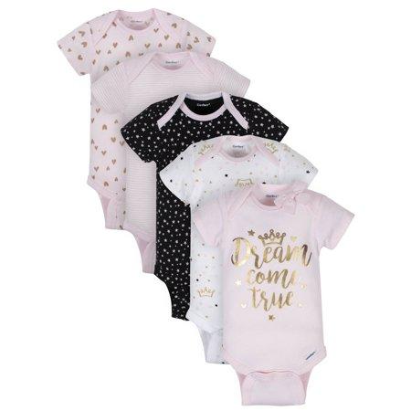 Gerber Baby Girls 3-Pack Organic Short-Sleeve Onesies Bodysuits