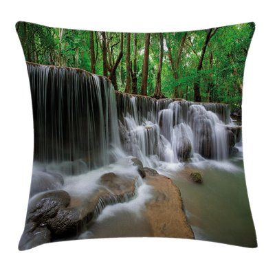 "East Urban Home Forest Scenery Cushion Pillow Cover Size: 18"" x 18"""