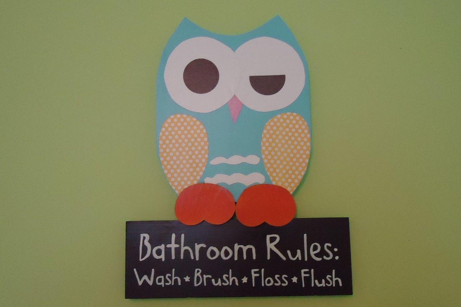Owl Bathroom Decor Wooden Owl Bathroom Rules Sign. $12.12, via