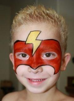 Flash Face Painting For Boys Superhero Face Painting Face Painting Halloween