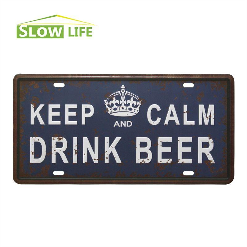 Metal Decorative Signs Keep Calm Drink Beer Car Metal License Plate Vintage Home Decor