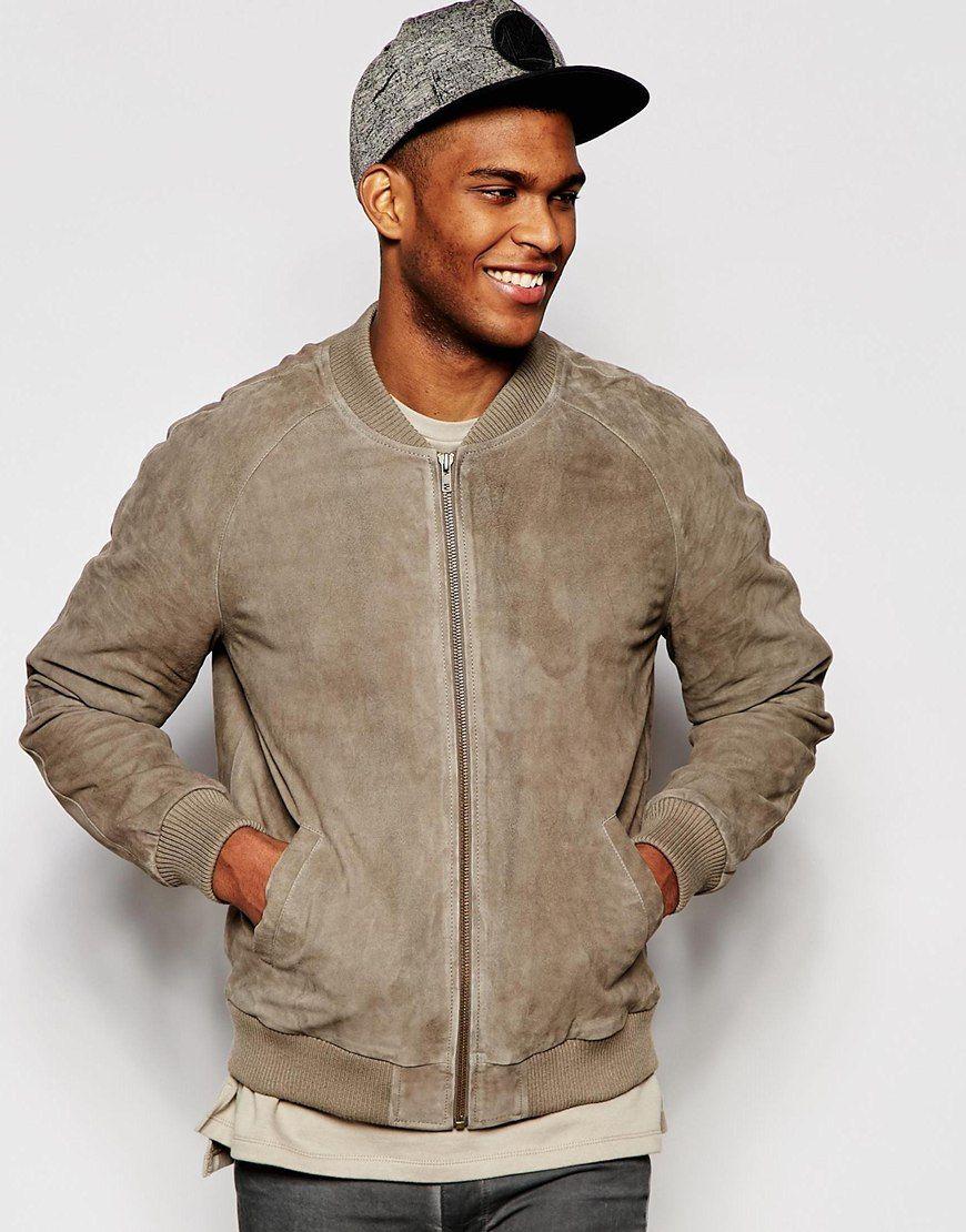 Suede Bomber Jacket in Stone Bomber jacket, Bomber