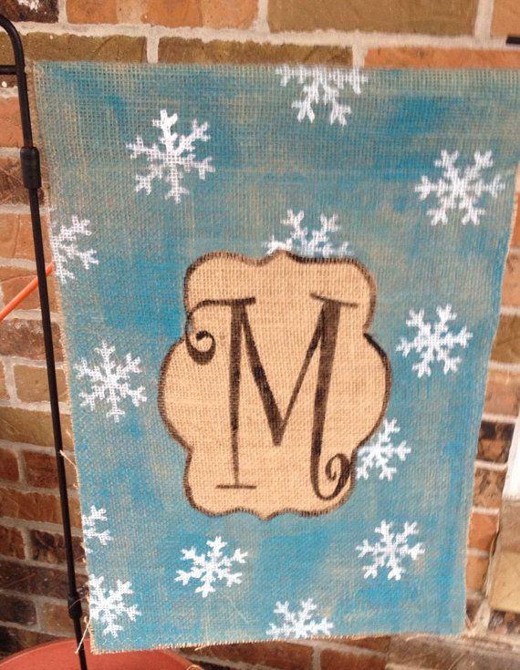Winter Wonderland Burlap Snowflakes Garden Flag Monogram on Etsy, $20.00(Diy Garden Flag)