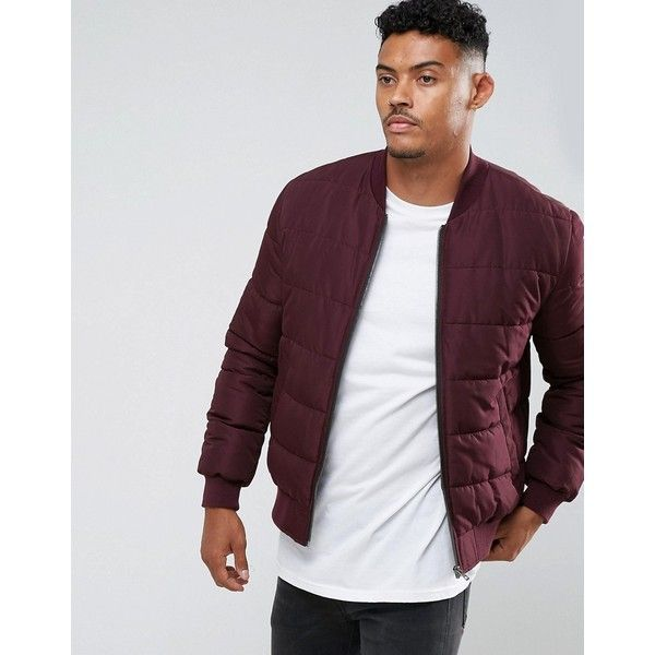 Asos Quilted Bomber Jacket In Burgundy 45 Liked On Polyvore Featuring Men S Fashion Men S Clothing M Bomber Jacket Quilted Bomber Burgundy Bomber Jacket