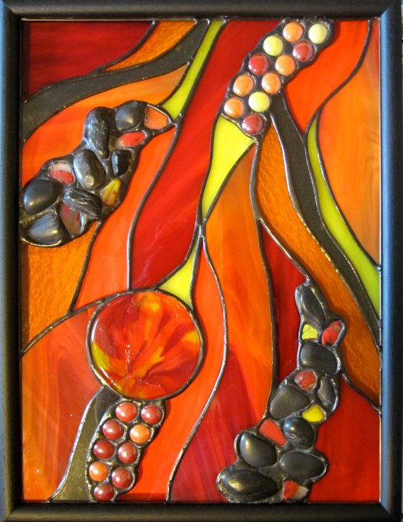 Fire and Flame Stained Glass Panel with by OrganicGlassDesign, $315.00