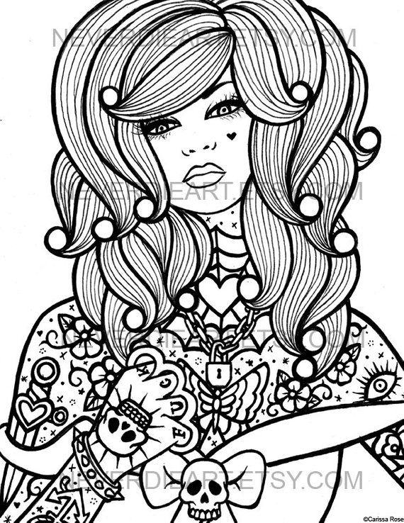Digital Download Print Your Own Coloring Book Outline Page Hard Rhpinterest: Hard Skull Coloring Pages At Baymontmadison.com