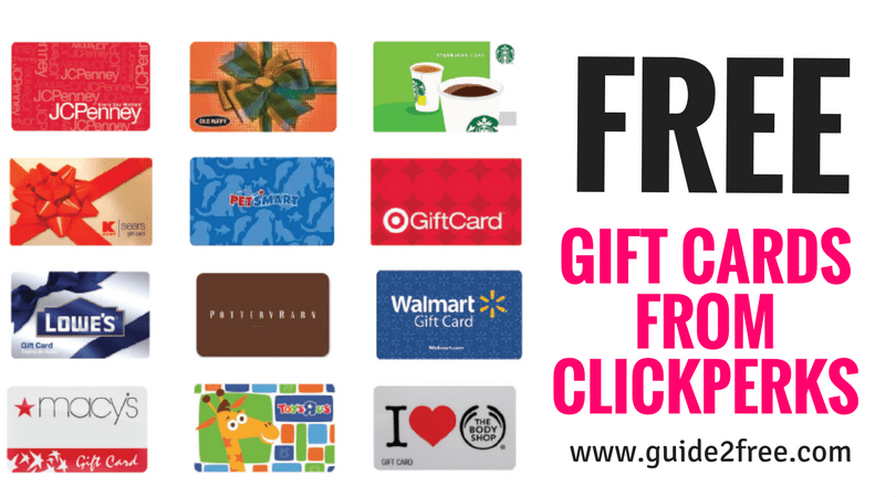 Clickperks Earn Free Gift Cards Guide2free Samples Free Gift Cards Earn Gift Cards Gift Card