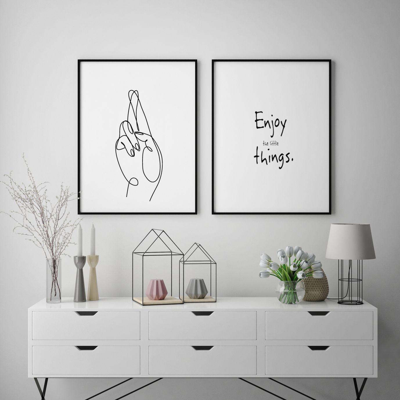 Fingers crossed printable wall art minimalist art hand