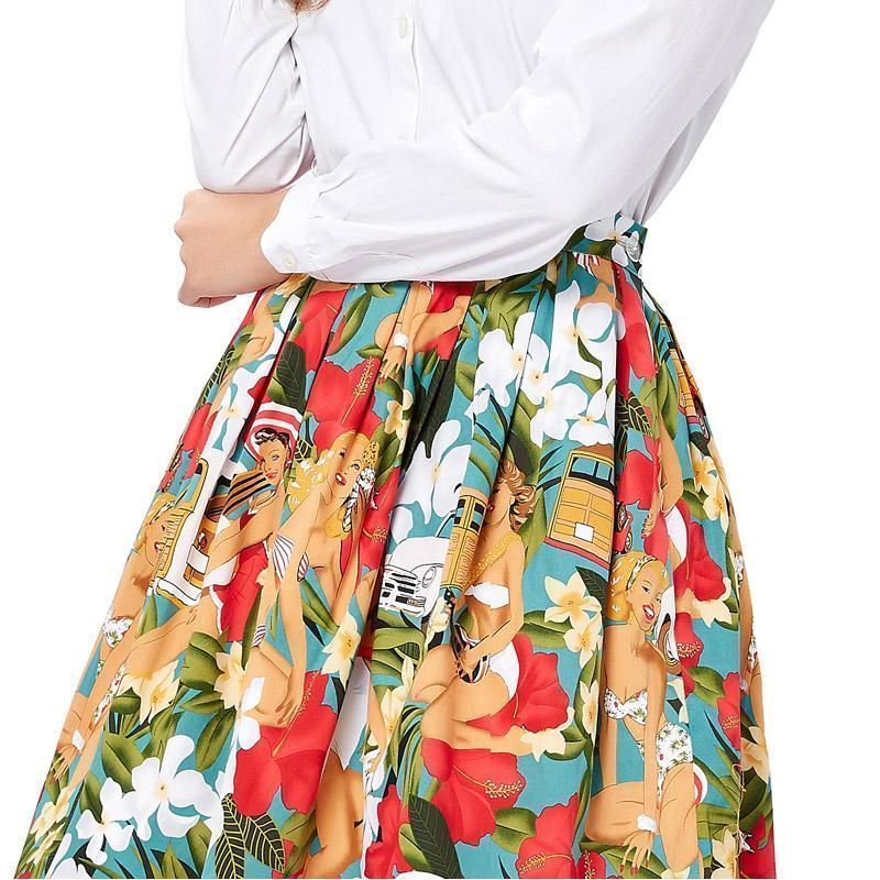 Bp Womens Retro Vintage Floral Print Belt Decorated Flared A-line Swing Skirt Women's Clothing