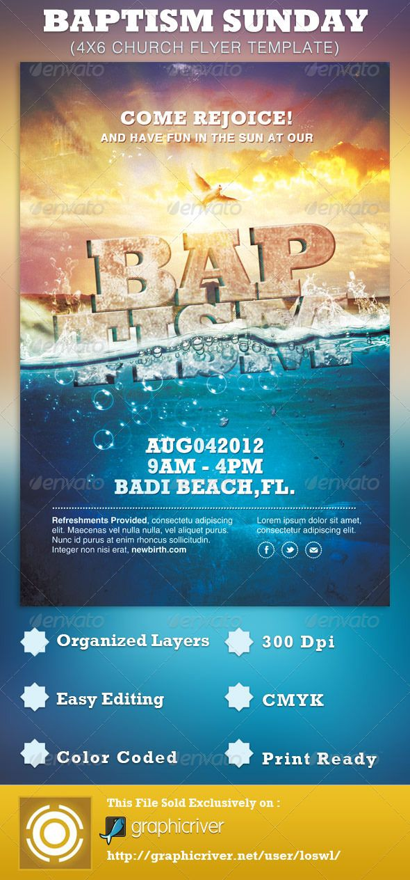 baptism sunday church flyer template can be used for your beach