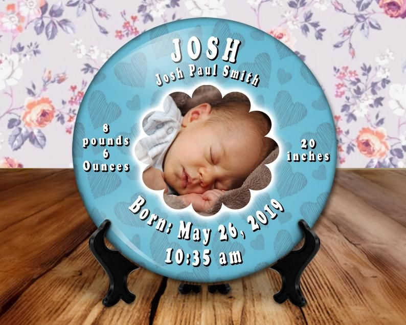 Baby birth announcement photo button 6 inch display with   Etsy