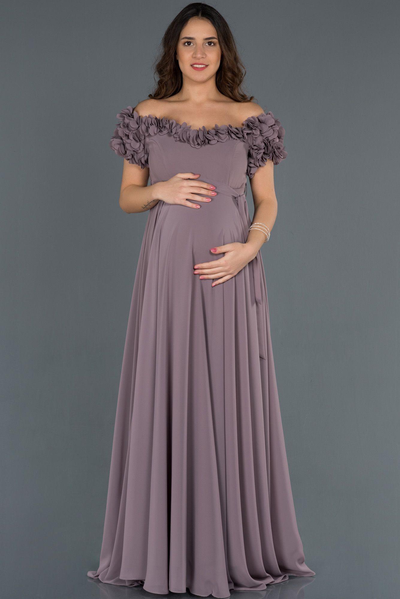 Lavanta Uzun Kayik Yaka Cicekli Hamile Abiye Abu752 2020 Elbise Modelleri Elbise Mini Elbise