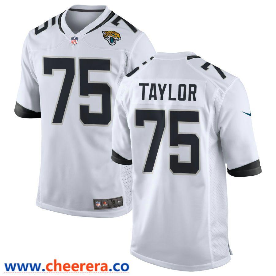 free shipping 28686 9fd39 Men's Jacksonville Jaguars #75 Jawaan Taylor White Road ...