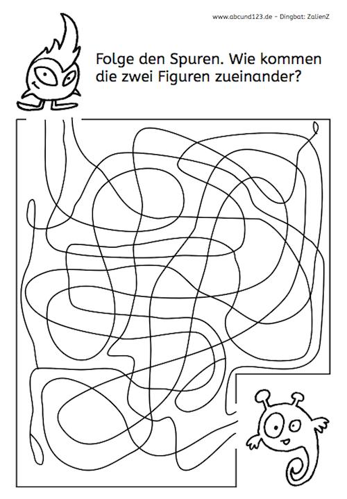 spuren folgen schule labyrinth malen nach zahlen kinder und vorschule. Black Bedroom Furniture Sets. Home Design Ideas
