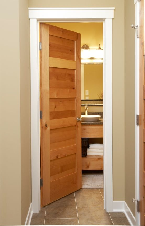 5 Panel Mission Style Door, Also Example Of Wood Door With White Trim