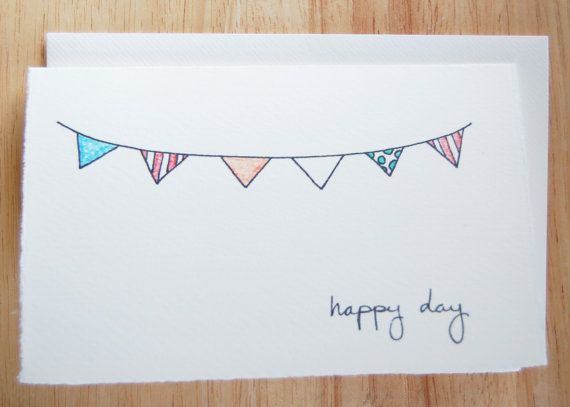 Cute Bunting Birthday Card Simple Party By Littleshopofellesee