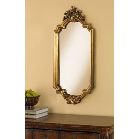 "Dartmoor Crown 40"" High Antique Gold Wall Mirror"