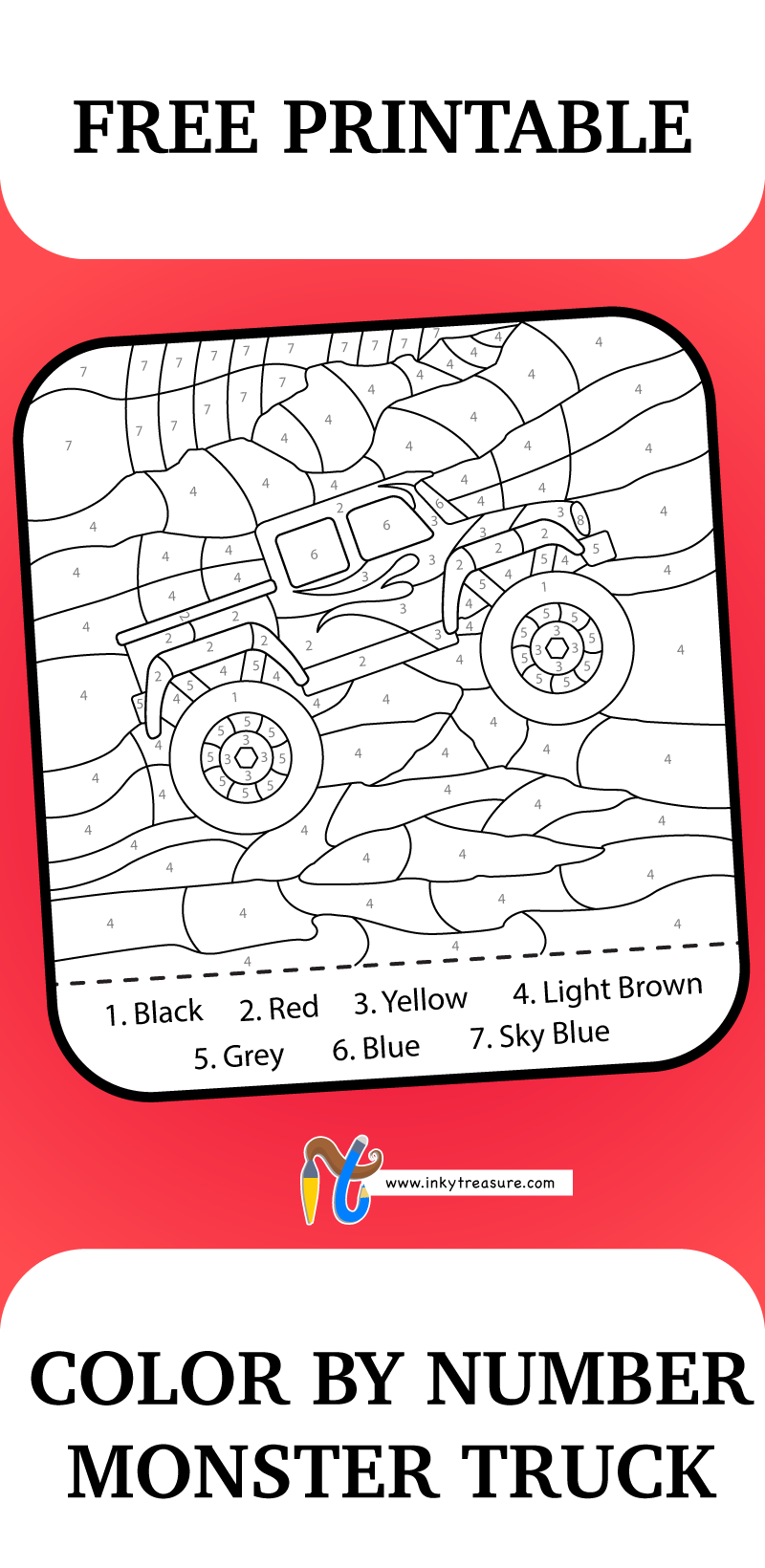 This Color By Number Monster Truck Worksheet Will Give Your Child Some Practice Following Directions Free Printable Puzzles Numbers For Kids Coloring For Kids [ 1640 x 800 Pixel ]