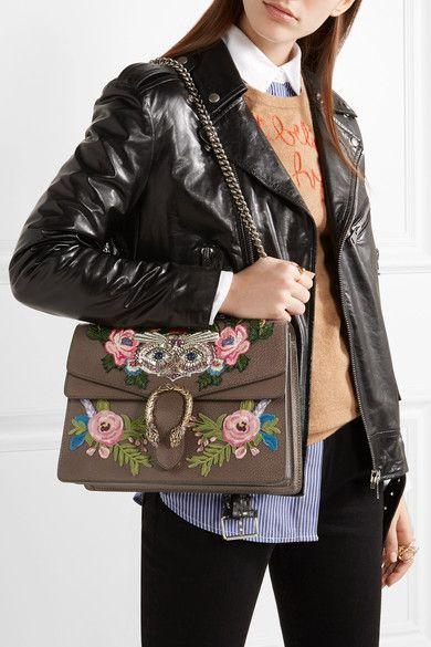 774882f4f4de Gucci - Dionysus Medium Appliquéd Embellished Leather Shoulder Bag - Brown  - one size