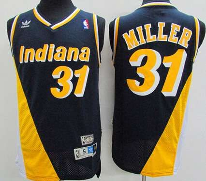 b2de2e8b5905 Men s Indiana Pacers  31 Reggie Miller Navy Blue With Yellow Hardwood  Classics Soul Swingman Throwback Jersey