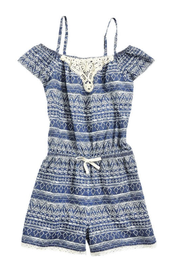 4407881b3 This blue tribal print romper with crochet detailing is equally ...