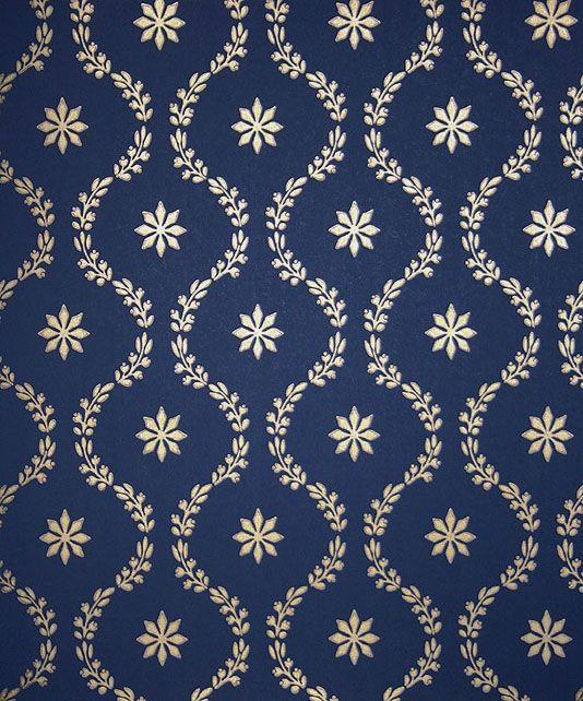 Clandon Wallpaper Pretty Floral Design In Gold On Dark Blue