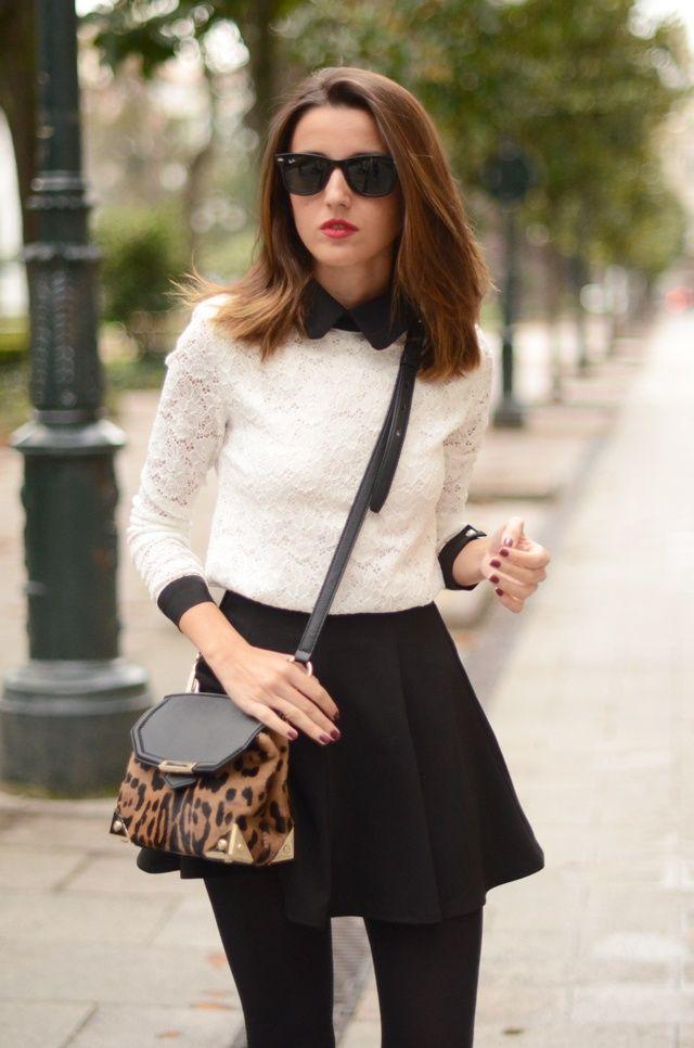 7cd62f92d8 x Black Skater Skirt Outfit, Black Skater Skirts, White Leopard, White Lace,