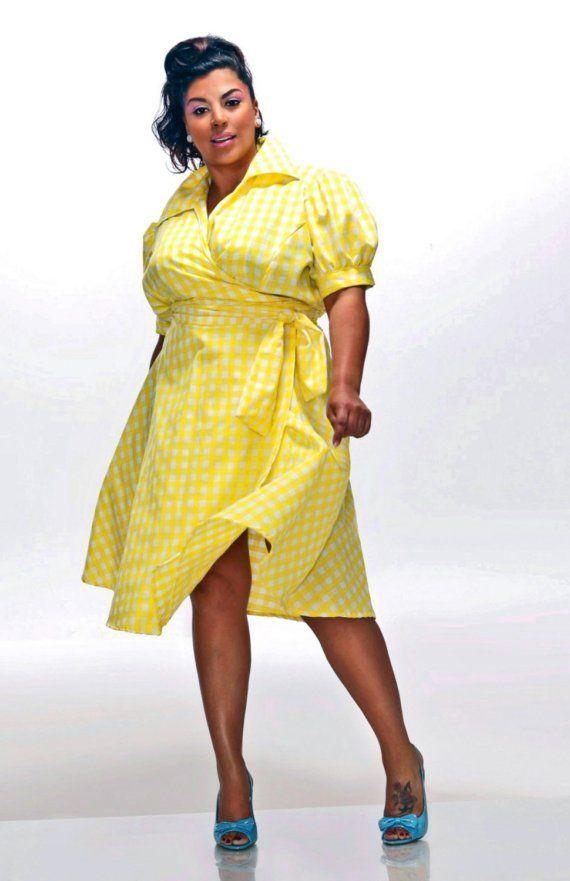 8a77462014 JIBRI Plus Size Vintage Inspired Gingham Wrap Dress.  160. LOVE ...