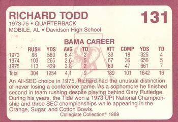 1989 Alabama Coke 580 #131 Richard Todd Back