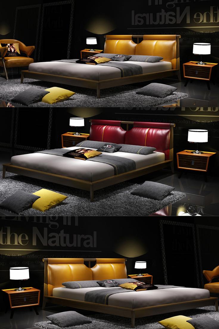 Unique Elegant Leather Couple Double Bed Bedroom Bed Design Luxury Bedroom Furniture Modern Bed Frame