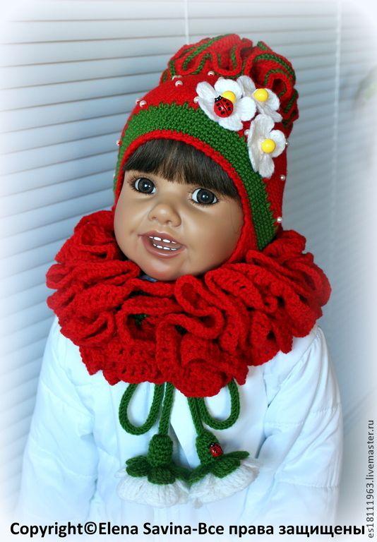 """Купить """"Клубничка""""- шапочка+ шарфик - цветочный, шапочка крючком, шапочка для девочки, шапочка вязаная"""