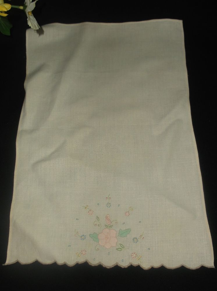 $9.99 Ecru Linen Vintage Hand Towel Floral Embroidered Handmade Spring Flower Salloped #unknown