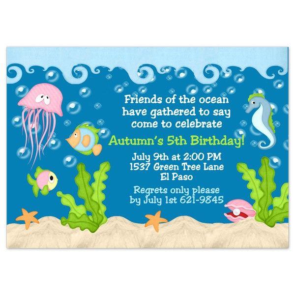 ocean birthday party invitations