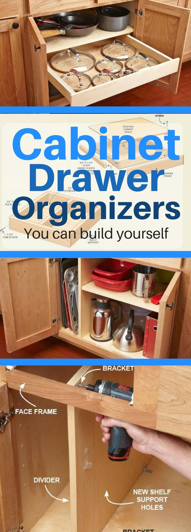 10 Kitchen Cabinet Drawer Organizers You Can Build Yourself Kitchen Cabinet Storage Kitchen Drawers Drawer Organizers