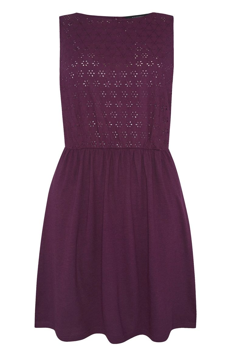 Purple Floral Sleeveless Skater Dress