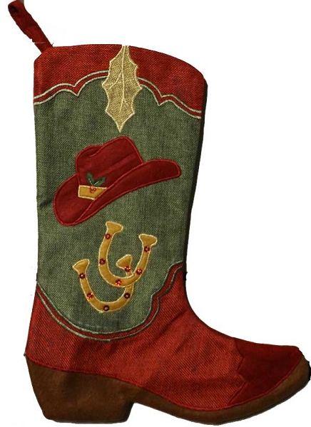 Cowboy Boot Christmas Stocking - Hat & Horseshoe design