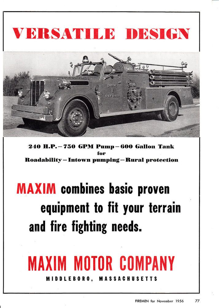 Details about NORTH SCITUATE HAS A MAXIM FIRE ENGINE 1956 AD 6660
