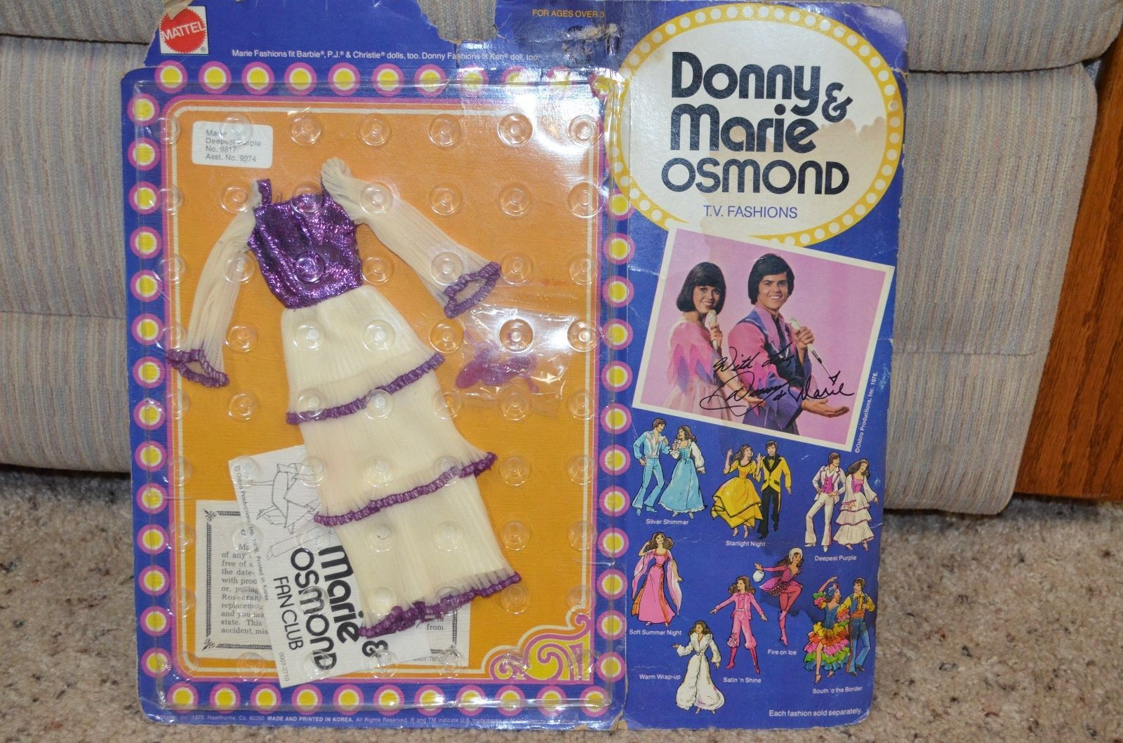 "Vintage 1976 Donny Marie Osmond Fashions /""Deepest Purple/"" Long Dress 9817 New"