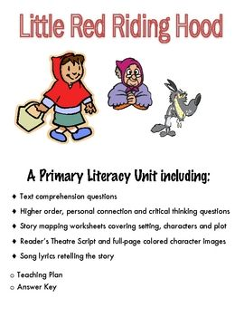 Little Red Riding Hood A Fairy Tale Primary Literacy Unit Con