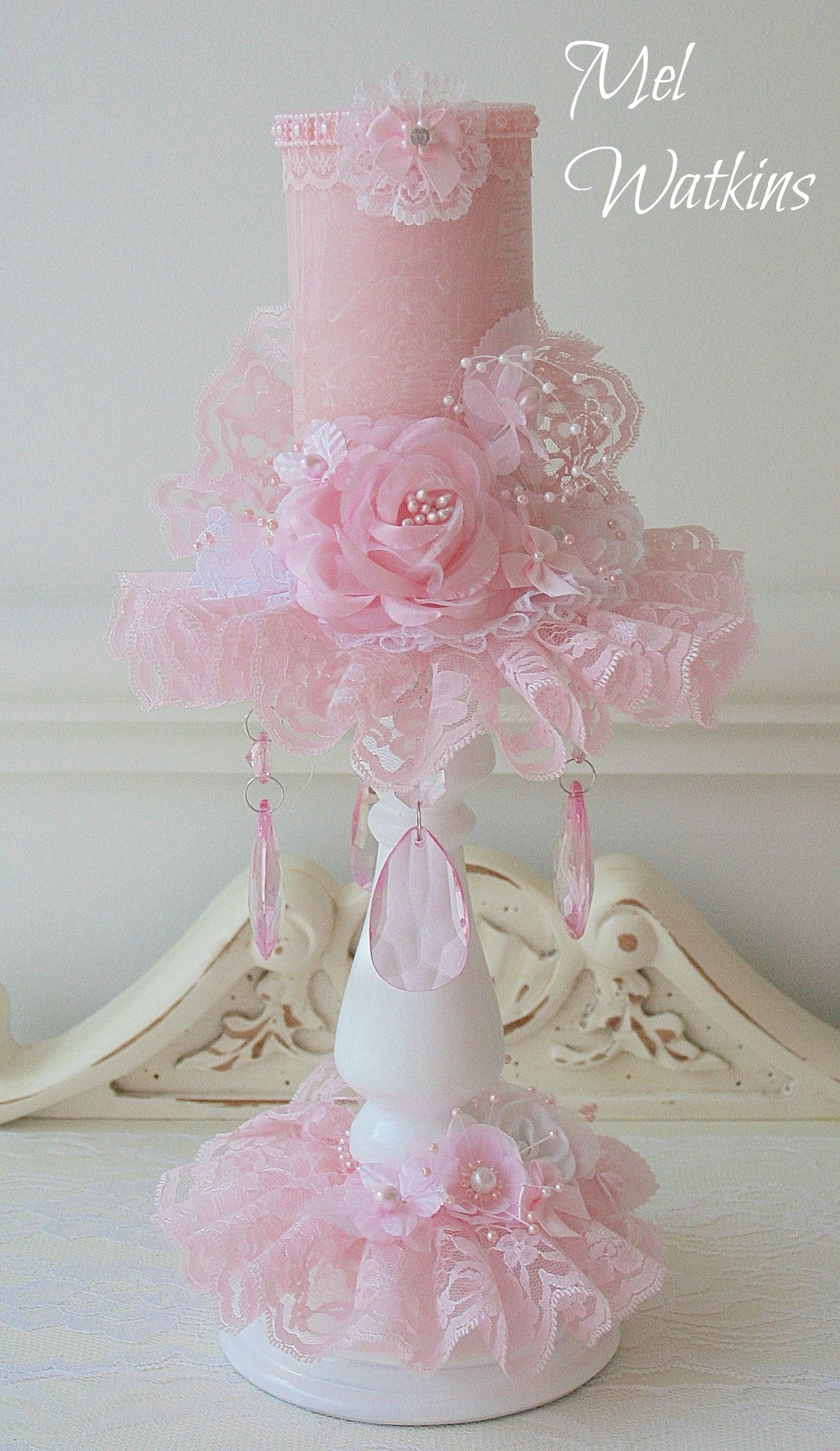 Shabby chic pink candle that i made now sold #shabbychicpink ...