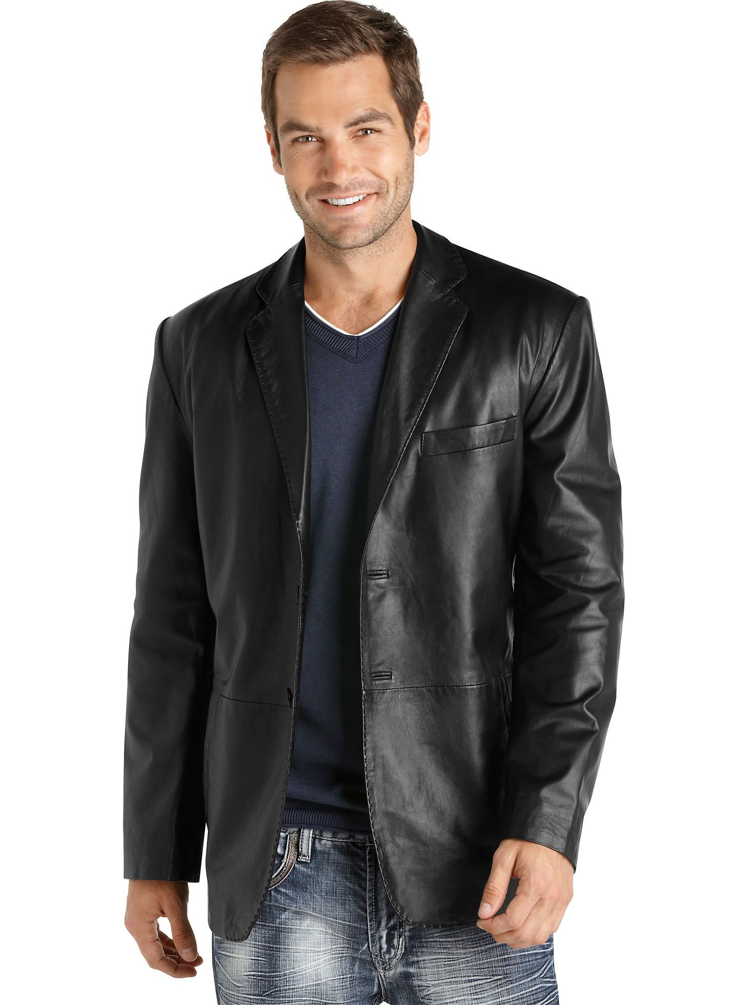 Sport Coats & Vests - Pronto Uomo Black Leather Blazer - Men's ...